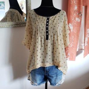 💋Kimchi Blue oversized polka dot hi-low shirt